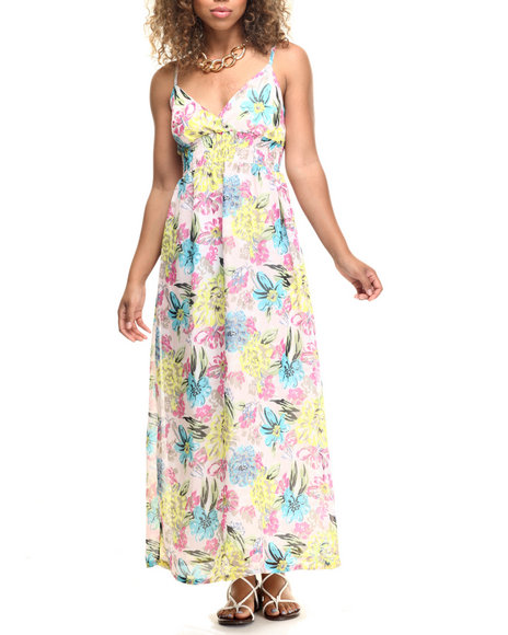 Ur-ID 218557 She's Cool - Women Beige,Ivory,Multi,Pink Neon Floral Print Chiffon Surplice Maxi