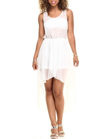 Ur-ID 218568 Fashion Lab - Women Ivory Candie Chiffon High Low Dress