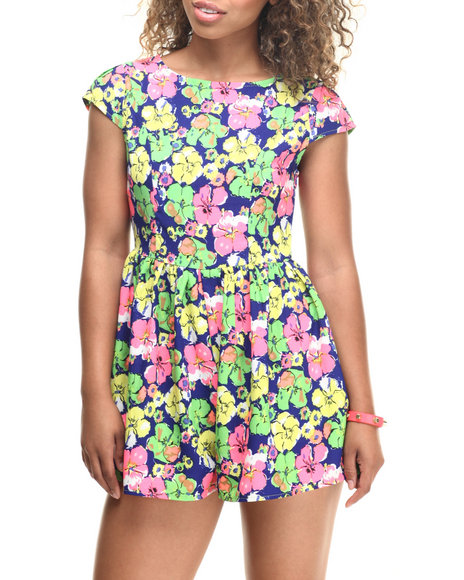 Fashion Lab - Women Blue,Multi Royal Floral Romper