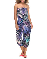 Jumpsuits - Faded Animal Print Strapless Jumpsuit