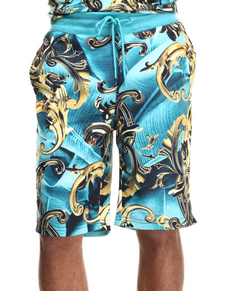 Hudson Nyc - Men Teal Baroque Paradise Shorts
