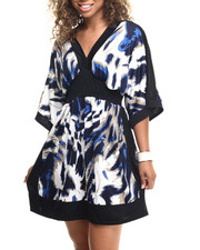 Dresses - Abstract Animal Print Kimono Dress