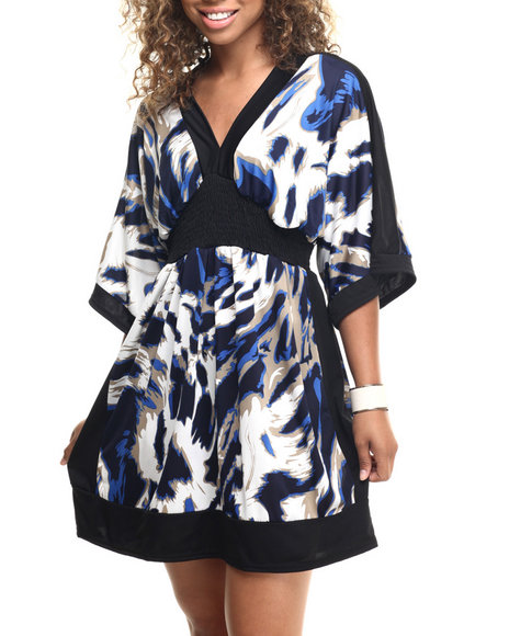 Ur-ID 218611 She's Cool - Women Black,Navy Abstract Animal Print Kimono Dress