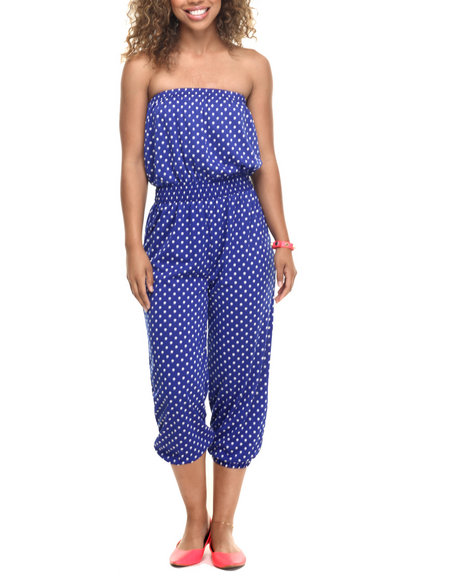 She's Cool - Women Blue Polka Dot Print Strapless Jumpsuit