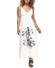 Dresses - Placement Floral Print Surplice Maxi