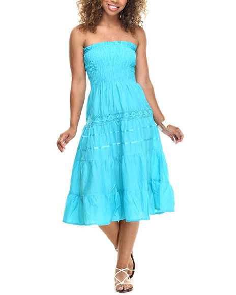 She's Cool - Women Blue Lace Insert Smocked Tube Cotton Dress