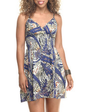 Dresses - Paisley Print Cotton Babydoll Dress