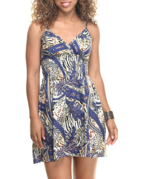 She's Cool - Women Multi Paisley Print Cotton Babydoll Dress
