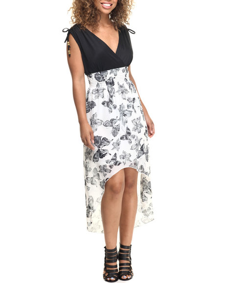 Ur-ID 218574 She's Cool - Women Black,White Butterfly Print Hi-Low Hem Dress