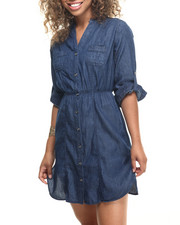 Women - Denim Cotton Roll-up Sleeve Shirt Dress