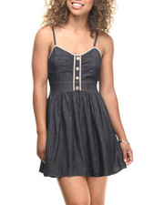 Dresses - Denim Bustier Cotton Babydoll Dress