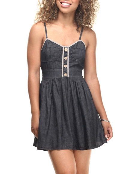 She's Cool - Women Black Denim Bustier Cotton Babydoll Dress