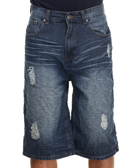 Enyce - Men Medium Wash Distressed Denim Shorts