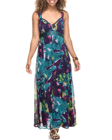Ur-ID 218510 She's Cool - Women Blue,Purple Floral Print Chiffon Empire Waist Maxi