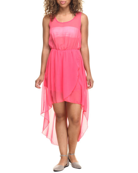 Ur-ID 218516 Fashion Lab - Women Coral Candie Chiffon High Low Dress