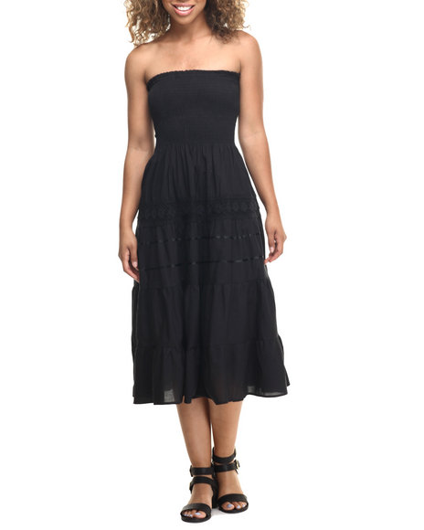 She's Cool - Women Black Lace Insert Smocked Tube Maxi Dress