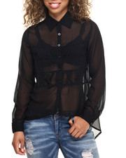 Polos & Button-Downs - Criss Cross Detail Chifon Top