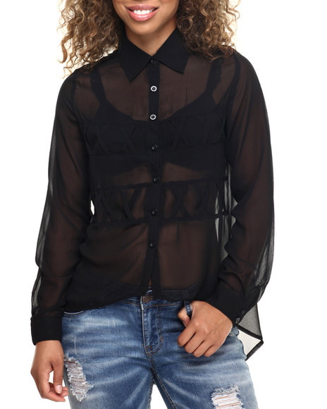 Ur-ID 218527 Fashion Lab - Women Black Criss Cross Detail Chifon Top
