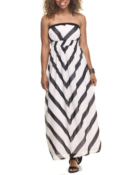 She's Cool - Women Black,White Chevron Stripe Strapless Chiffon Maxi
