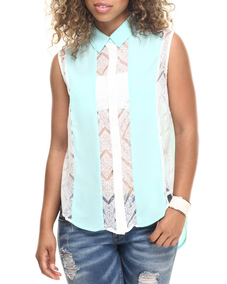 Ur-ID 218559 Fashion Lab - Women Off White,Green Chiffon Tank Top W/Lace Detail