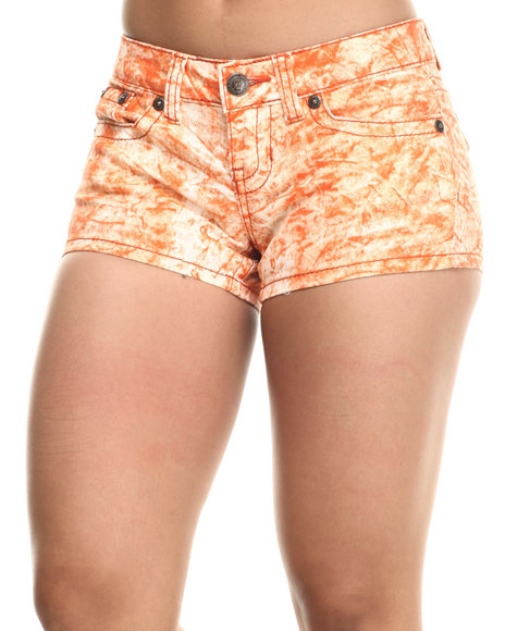 Fashion Lab - Women Orange Splash Jean Short