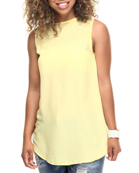 Fashion Lab - Women Yellow Chiffon Tank Top - $6.99