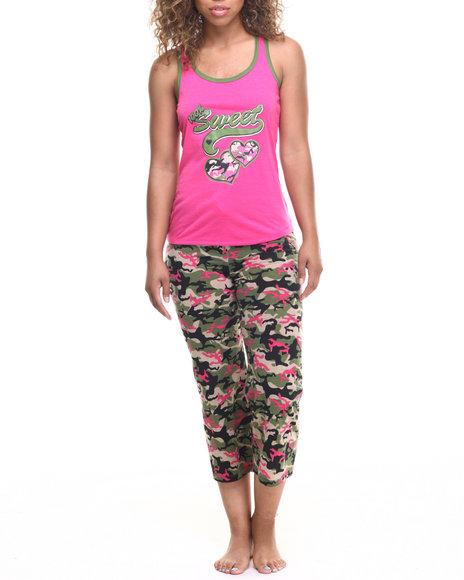 Ur-ID 218626 DRJ Lingerie Shoppe - Women Camo,Dark Pink Love Camo Capri Pj Set