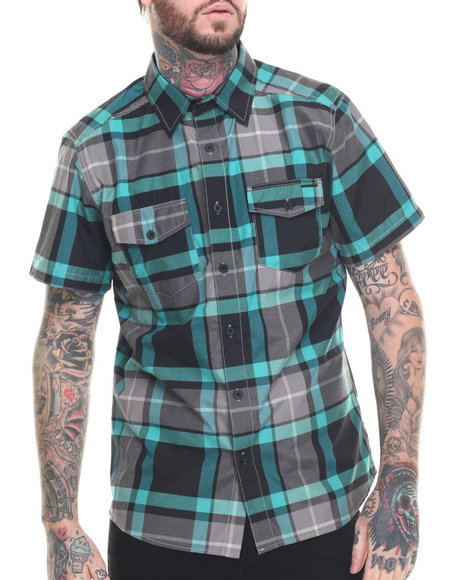 Ur-ID 218315 Ecko - Men Black Oxford Plaid S/S Button-Down