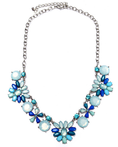 Drj Accessories Shoppe Women Flower Statement Necklace Blue