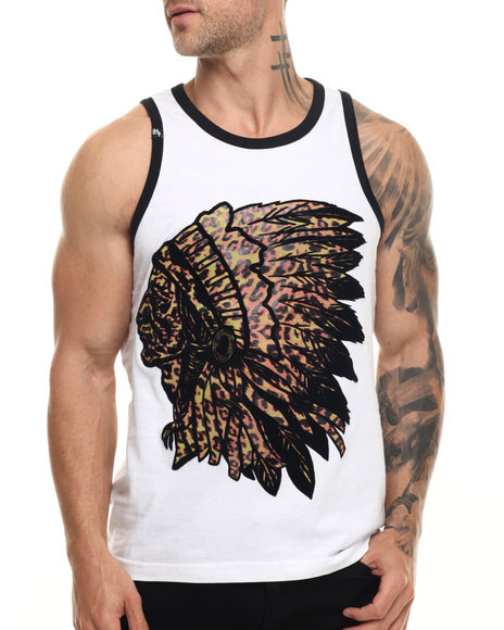 Buyers Picks - Men White Indian Face Tank Top