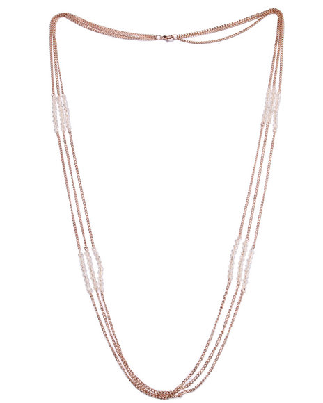 Drj Accessories Shoppe Women Long Chain W/ Crystals Necklace Gold