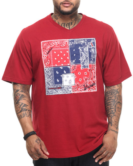 Ur-ID 217694 Winchester - Men Red Bandana Pattern V-Neck Tee (B&T)