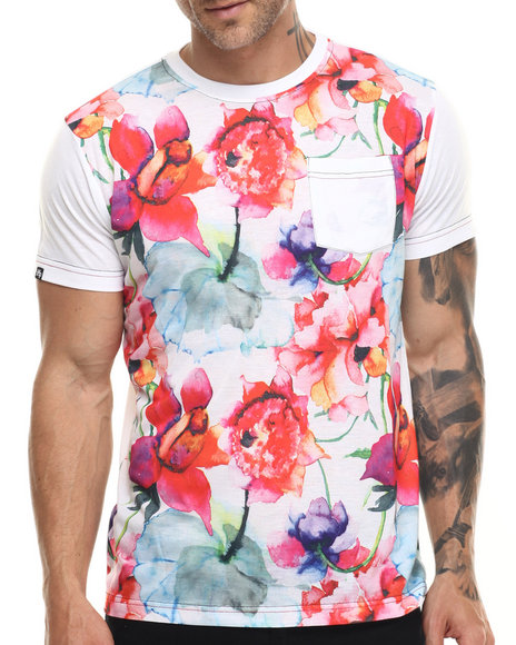 Buyers Picks - Men White Floral Print Patch Pocket S/S Tee - $26.00