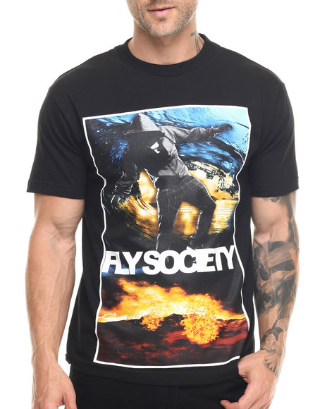Flysociety - Men Black Elemental T-Shirt