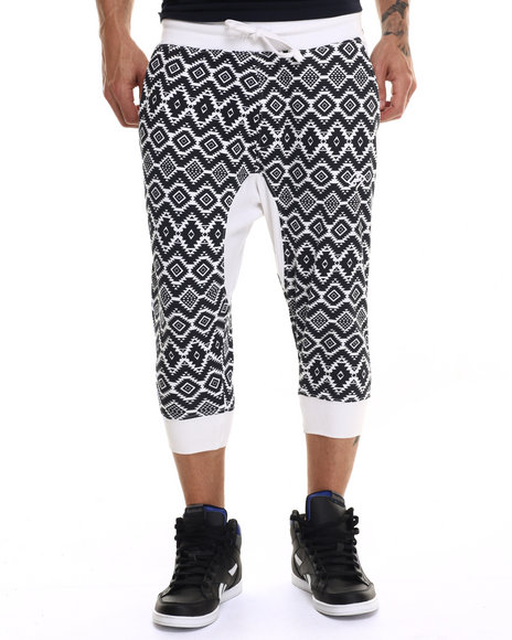 Enyce - Men White Aztec Print Jogger Short