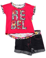 La Galleria - 2 PC REBEL PRINTED TOP & DENIM SHORT SET (4-6X)