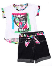 La Galleria - 2 PC LET YOUR LOVE GLOW PRINTED TOP & DENIM SHORT SET (4-6X)