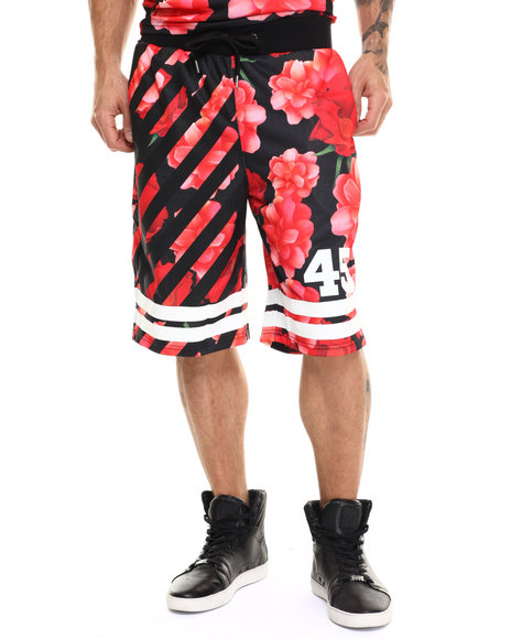 Ur-ID 217514 Buyers Picks - Men Red Bloom 45 Drawstring Shorts