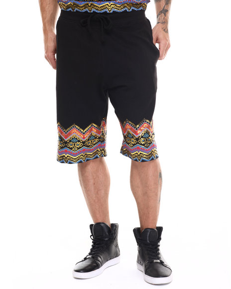 Buyers Picks - Men Black Dashiki Drawstring Shorts