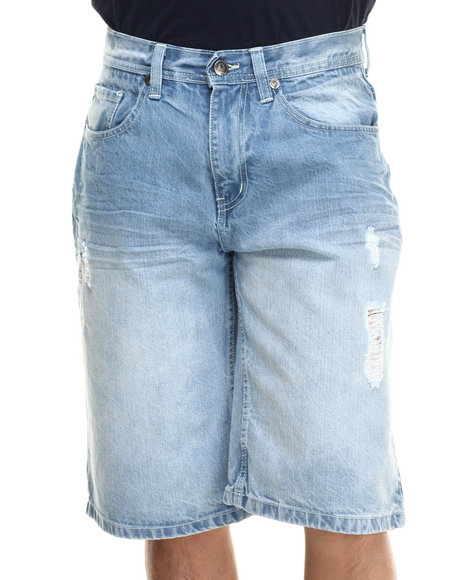 Akademiks - Men Light Wash Josh Denim Shorts