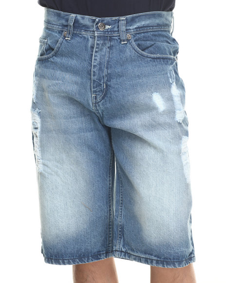 Akademiks - Men Medium Wash Hart Denim Shorts