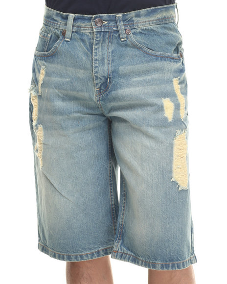 Akademiks - Men Vintage Wash Hart Denim Shorts