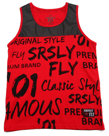 Srsly Fly - Boys Red Srsly Fly Graffiti Logo Tank (8-20)