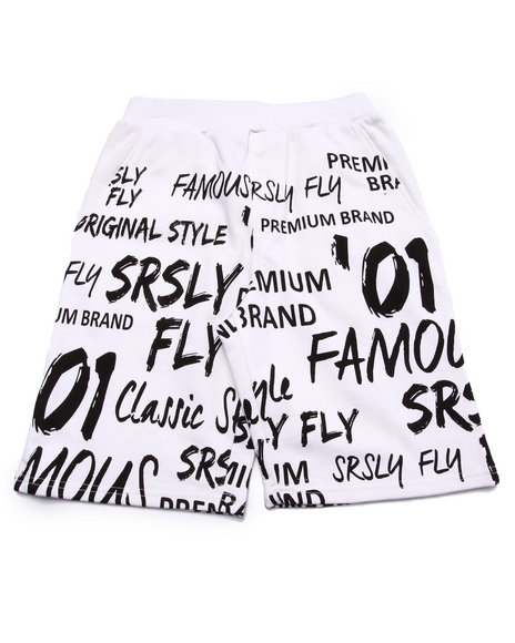 Srsly Fly - Boys White Srsly Fly Graphic French Terry Shorts (8-20)