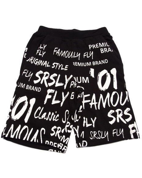 Srsly Fly - Boys Black Srsly Fly Graphic French Terry Shorts (8-20) - $19.99
