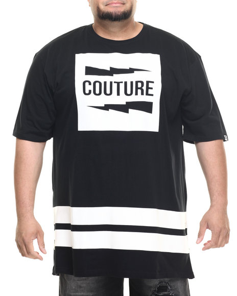 Akademiks - Men Black Couture E-Longated Side Zipper S/S Tee (B&T)