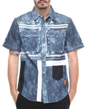 Shirts - Paisley Pattern Chambray S/S Button-Down