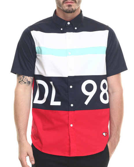 Ur-ID 218849 Diamond Supply Co - Men Navy Dlyc S/S Button-Down