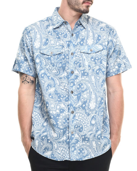 Ur-ID 218862 Buyers Picks - Men Indigo Light Denim Paisley S/S Button Down Shirt
