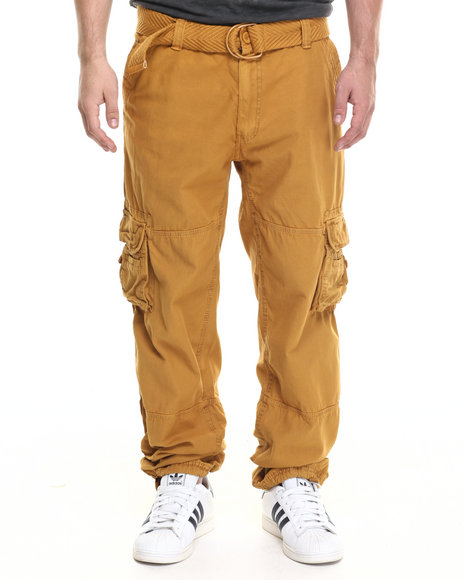 Basic Essentials - Men Wheat Restruck Belted Cargo Pants